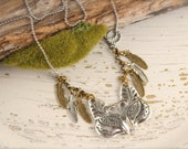 Fox Feather Long Boho Vintage Necklace