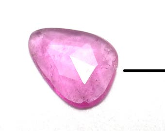 Rubellite Tourmaline Cabochon Rose Cut Watermelon Pink Small Gemstone One of a Kind Faceted Handmade Handcut Ring Stone