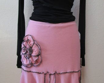 Pink color skirt or tube dress for you option to wear with rose decoration and ruffled edging plus made in USA  (V148)