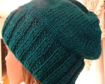 TEAL WINTER HAT, hand knitted in a slouchy style, acrylic ,worsted weight yarn, very warm hat