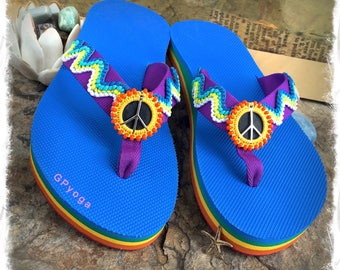 RAINBOW Peace flip flops US size 7 NEON sandals Blue Love Peace Sign Colorful shoes Bohemian Boho Summer Hippie Girl Womens Fashion GPyoga
