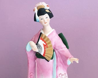 Vintage 70s Geisha Furisode Kimono Music Box / 1970s Figurine Porcelain Made in Japan