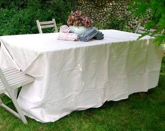 "Vintage Linen Tablecloth, Large Double Sheet, Pale Pink Dyed Linen & Cotton / French Bedlinen, Vintage Home Decor 78"" x 118"""
