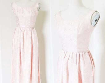 """40% OFF SALE Vintage 1960's Formal Wiggle Party Dress / Pastel Pale Pink Brocade Taffeta Prom Cocktail Dress / Size X-Small 32"""" Bust"""