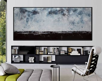 extra large abstract landscape painting horizon grey brown painting skies sky 72x30