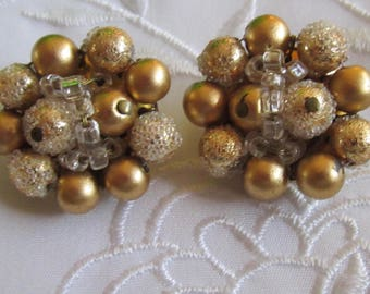 Vintage Gold and Frosted Beaded Clip On Earrings from Japan