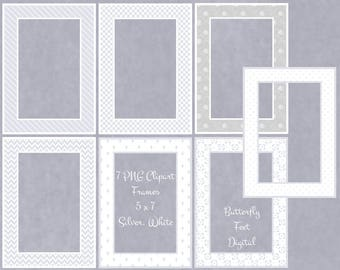Digital Clip Art PNG Frames, Photo Overlay, Picture Frame, Silver, White, Instant Download