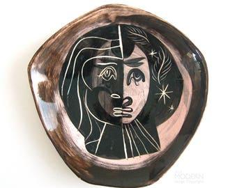 Richard Saar Ceramics Mid Century Modern Abstract Face Dish California Pottery