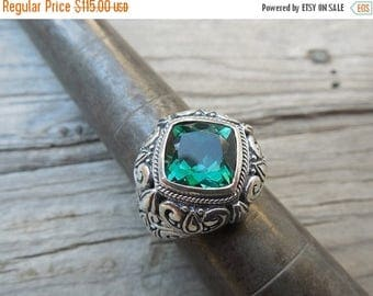 ON SALE Beautiful deep green amethyst ring handmade in sterling silver 925