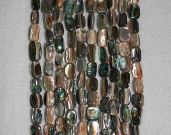 Abalone, Multicolor Abalone, Abalone Rectangle, Abalone Shell, Shell Beads, Natural Shell, Shell Rectangle, Strand, 12-15 mm, AdrianasBeads
