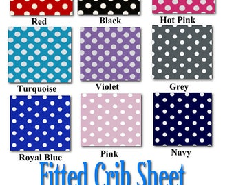 Fitted Crib Sheet - Featuring Robert Kaufman Dots, You Choose the Fabric