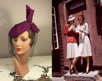 News From the Front Lines - Vintage 1940s WW2 Magenta Pill Box Hat w/Large Bow Veil