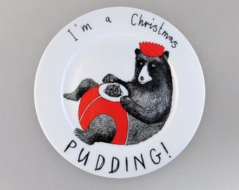 I'm a Christmas Pudding side plate