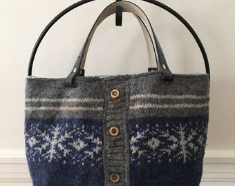 Gray and Blue Cardigan Felted Wool Tote Bag