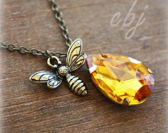 Bee Necklace, honey Bee Necklace, Bumble Bee Necklace, Bee Keeper Necklace, Honey Topaz