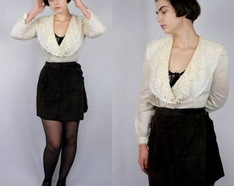 Cream cotton tailored wrap front blouse with crochet lace 1990s 90s VINTAGE