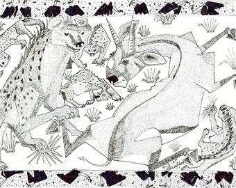 Antelope vs Hyena, Wild Animals, Line Drawing, Africa