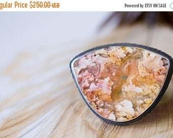 SUMMER SALE Feather Ridge Plume Agate Ring in Sterling Silver, Cocktail Ring, Collector Stone - Size 7.75, Size 8 - On the Wings of a Dove