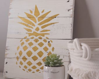Pineapple Wood Sign Etsy