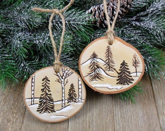 Wood Burned Birch Slice Christmas Ornament Trees Snow Scene Hand Burned Painted Set of 2