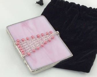 Pretty in Pink Stained Glass and Hand Knit Wire Beaded Triangle Hand Mirror with case