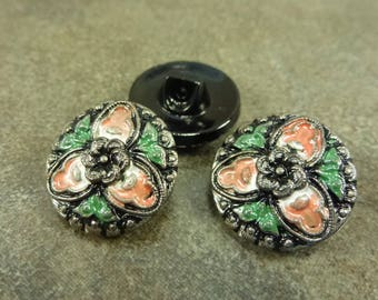 Jet/Triqueta Hand Painted Czech Pressed Glass 18mm Button Wrap Bracelet Closure ONE button