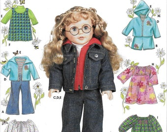 """Simplicity 7083 Sewing Pattern Elaine Heigl American Girl 18"""" Doll Clothes Jumper Jacket Dress Nightgown"""