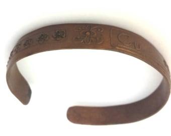 Vintage Copper Metal Engraved / Cu --- 99.9 / Woman Bangle Bracelet