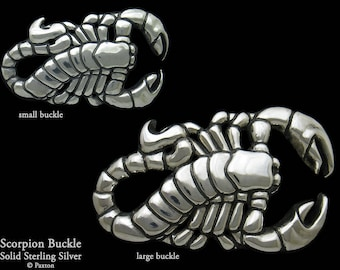 Scorpion Belt Buckle in Solid Sterling Silver or Yellow Brass