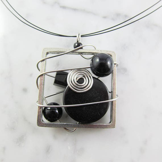 Square metal stainless necklace, black, beads, silver, pewter and stainless steel tiger tails, les perles rares