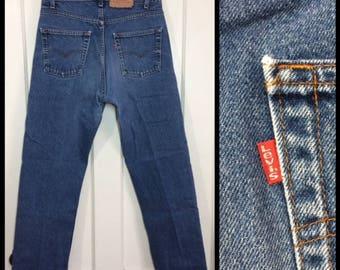 1980s faded Levi's 505 34X30, measures 32x29.5 straight leg made in USA denim boyfriend blue jeans #348