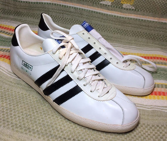 deadstock 1970s leather Olympia sneakers white black 3 stripes size 11
