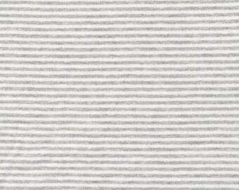 Organic KNIT Fabric - Cloud9 2017 Knits -  Thin Stripes Heather Gray