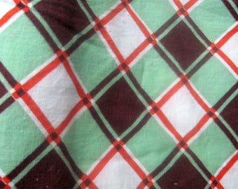 Vintage 1940s Fabric Piece green brown red checked