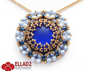 Tutorial Sai Pendant - Beading Tutorial, Pendant beading tutorial, Jewelry Tutorial, Instant download, Ellad2