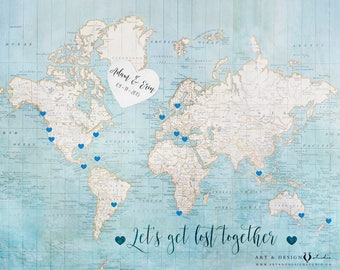 Guest Book Map, Wedding Guest Book Alternative, World Map Wedding Sign, Wedding Guest Map, Travel Art Print, Customized World Map Print