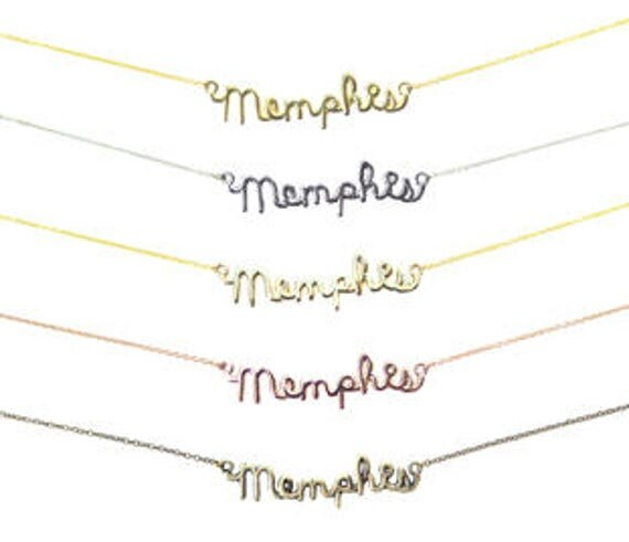 Memphis Wire Name Necklace - Brass - Gold Plated - Rhodium Plated - Rose Gold Plated - You Choose