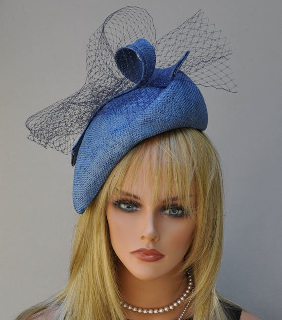 Kentucky Derby Fascinator Hat, Wedding Hat, Church Hat, Women's Blue Hat,  Blue Fascinator, Mother of Bride Hat, Derby Hat