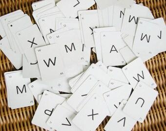 Vintage SMALL Letter Cards 179 Piece Scrapbooking DESTASH Black and White Letters