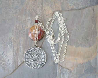 Aztec Calendar Necklace, Poppy Jasper Necklace, Wire Wrapped Necklace, Natural Stone Necklace, Silver Necklace, Mexican Necklace, For Her