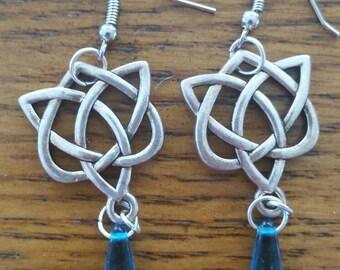 Aqua celtic knot earrings