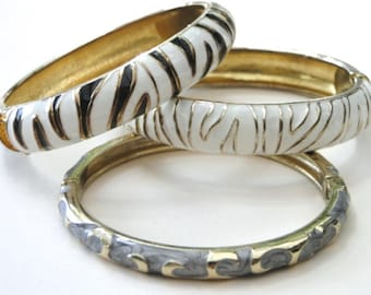 Mid Century Bangles / Three Retro Hinged Bangles / Bracelets / Jewelry for any Occasion / Bangles / Bracelets / Accessories / Gift for Her