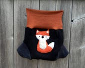 Upcycled Merino Wool Soaker Cover Diaper Cover With Added Doubler Black / Gray/Orange  With Fox  Applique MEDIUM 6-12M