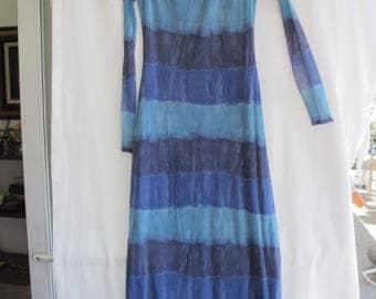 80s Tie Dye Maxi Dress Stretch Blue Mesh Bisou-Bisou Size Large Michele Bohbot