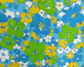 Floral Terry Cloth Fabric in Blue, Green, Yellow and White Over 4 Yards Destash Yardage