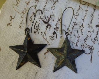 GORGEOUS Metal Star Dangle Earrings with AMAZING Patina