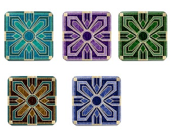 Single coasters, art deco coasters, cork back coasters, mix and match to create your own set in blue, green, purple, teal and brown