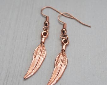Rose Gold Feather Earrings, Rose Gold Earrings, Feather Earrings, Rose Gold Heart Feathers, Valentine Gift, Birthday, Angel Wings, Feathers