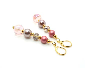 Sweet Pink Champagne Earrings – Pink Blush Crystal and Pearl Earrings – Pink Earrings