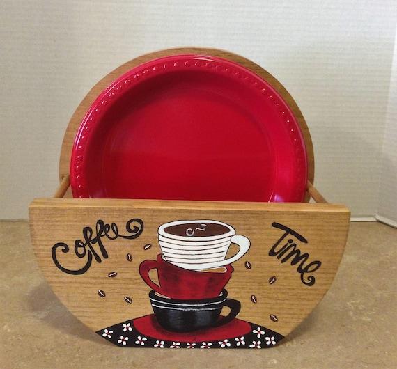 Paper Plate Holder, Coffee Theme, Coffee Decor, Coffee Lovers Gift, Bistro Decor, Coffee Kitchen Theme, Coffee Kitchen, Holder for Plates
